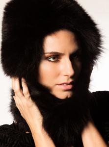 Model wearing fur for beauty shoot
