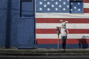 Personal project - White Rabbit: American Bunny posing in jeans and tank