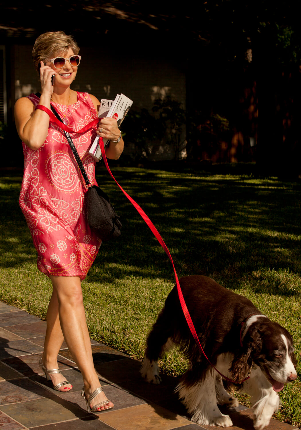 Nancy Campbell walking her dog