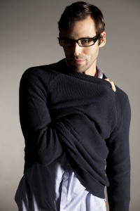 Male model with sweater and glasses for fashion shoot
