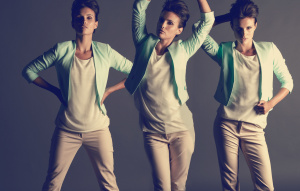Model with retro hair wearing H&M outfit - three model poses