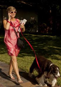 Nancy Campbell walking her dog