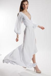 Young model wearing Jerry Matthews dress for fashion shoot